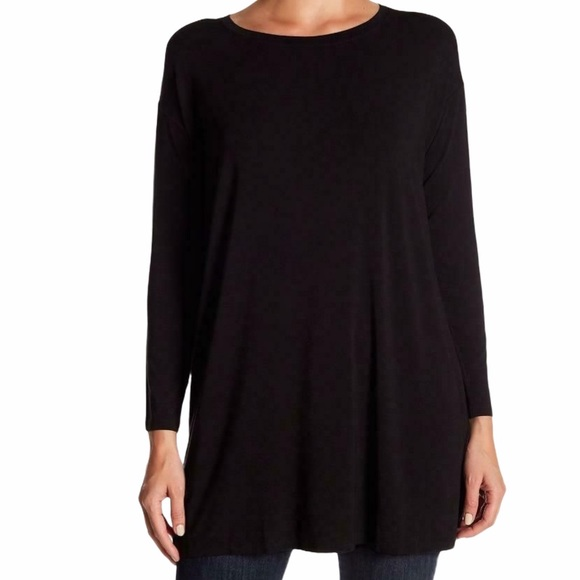 Eileen fisher black tunic top blouse size XL
